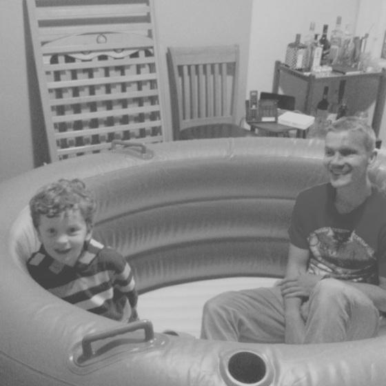 Chris and Sonny in their new playpen aka the birthpool
