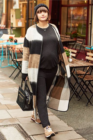 """There's no need to buy a special maternity coat as you'll probably overheat – a long cardigan like this one is perfect"""